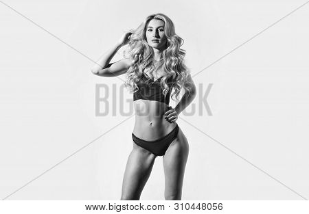 Gorgeous Woman. Girl Slim Sexy Fashion Model Curly Hairstyle. Woman Wear Sexy Erotic Lingerie. Sexy