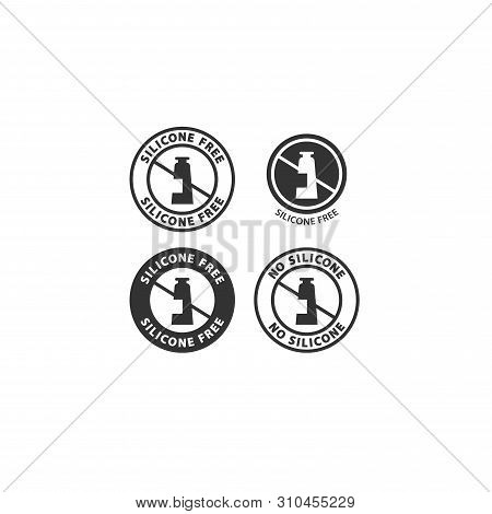 Silicone Free Black Vector Circle Badge Label. No Silicone Ingredients Stamp Icon Set For Cosmetics