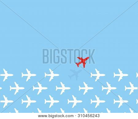 White Airplanes Group Fly In One Direction And Only One Red Airplane Fly In Different Way On Blue Sk
