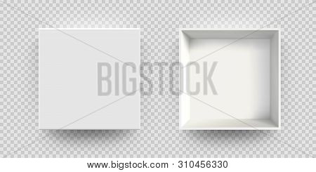 White Box Mock Up Vector 3d Model Top View. Isolated Blank Realistic Open Cardboard Paper Box Mockup