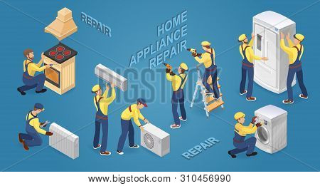 Isometric Workers With Faulty Home Appliances. Vector Illustration.