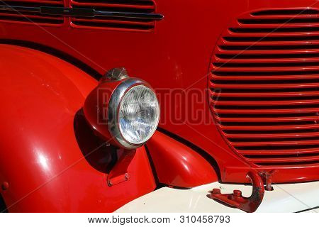 Detail Of Old Vintage Firetruck Light Fender And Cooler