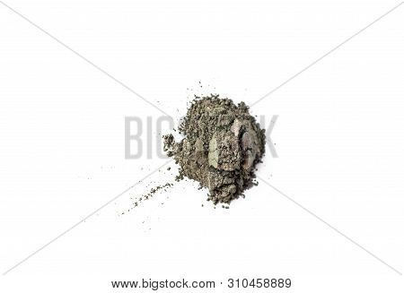 Natural khaki green colored pigment. Loose cosmetic powder. Eyeshadow duochrome prismatic pigment isolated on a white background, close-up poster