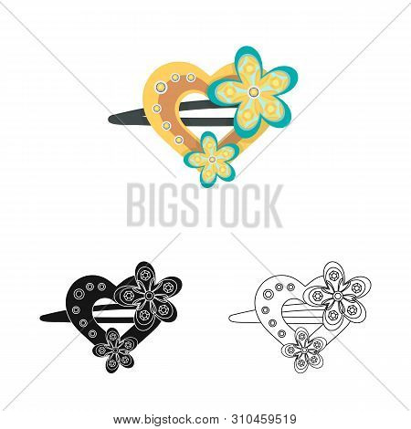 Vector Illustration Of Hairgrip And Hairdo Sign. Collection Of Hairgrip And Clip Stock Symbol For We