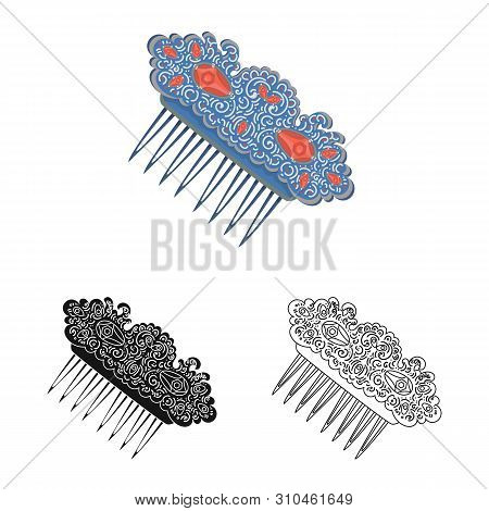 Isolated Object Of Comb And Shape Logo. Set Of Comb And Hairdo Vector Icon For Stock.