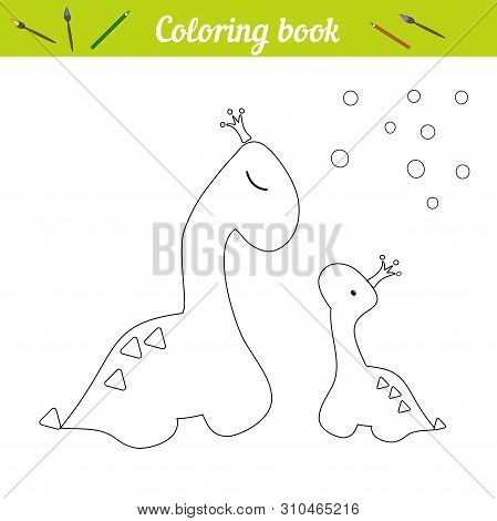 Coloring Page Dino Princess Poster. Cartoon Outline Draw. Educational Game For Children. Two Dinosau