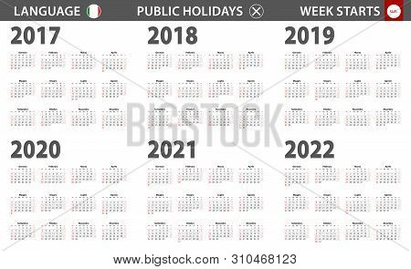 2017-2022 Year Calendar In Italian Language, Week Starts From Sunday. Vector Calendar.