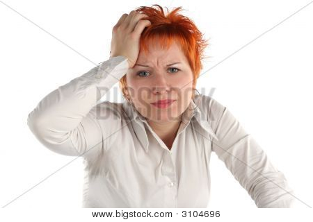Anxious Business Woman Isolated On White Background