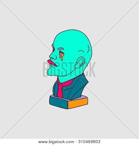 Lenin Portrait Vector, Symbol Revolution In Russia. Proletarians Of All Countries, Unite.