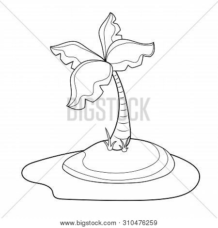 Palm Tree Island Outlined Vector Illustration On White Background. Coco Palm Tree With Leaves Colori