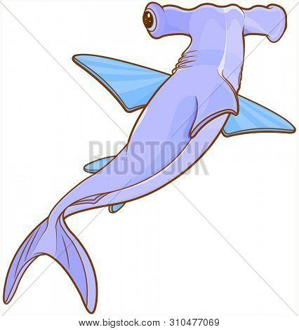 Illustration of cute hummer shark