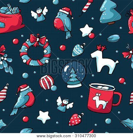 Cute Doodle Christmas Elements Bullfinch, Christmas Toys, Hot Chocolate, Christmas Wreath. Vector Ha