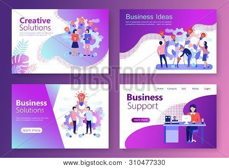 Set Of Landing Page Templates. Modern Flat Concept Web Banners With People Character. Business Servi
