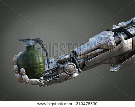 3d Rendering Of A Futuristic Robot Soldier Hand Holding A Grenade. Robotic Military Warfare Concept.