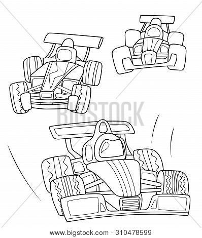 Race Cars Coloring Page, Black Line Vector Illustration On White Background. Speed Car Line Art. For