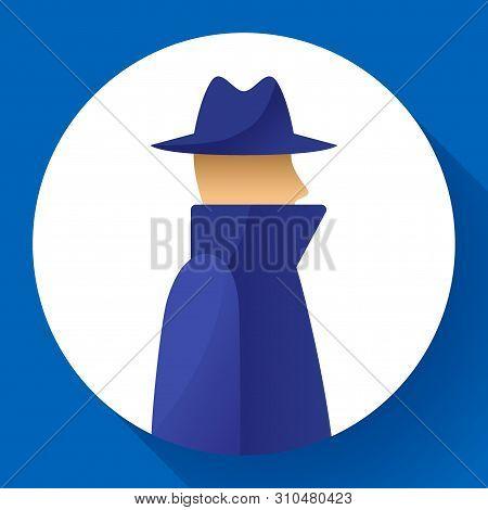 Anonymity Concept, Spy, Detective, Agent, Anonym In Coat And Hat Icon, Anonymous, Vector Illustratio