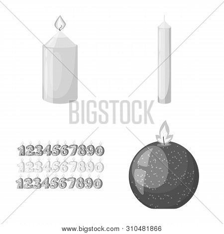 Vector Illustration Of Paraffin And Fire Sign. Collection Of Paraffin And Decoration Stock Symbol Fo