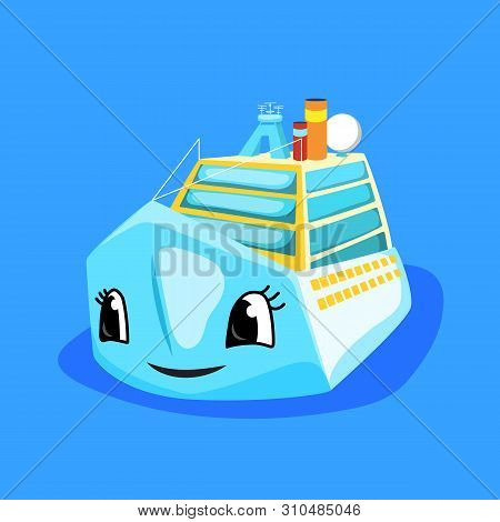 Cute Ferry Or Cruise Liner With Eyes And Smile. Marine Transport Cartoon Vector Illustration. Oceani