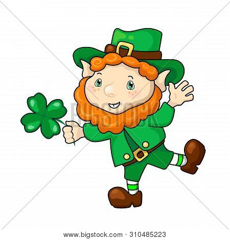 Happy Leprechaun With Clover, St Patrick's Day Vector Illustration On White Background. Funny Dwarf