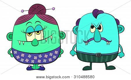 Set Of Funny Colorful Cartoon Characters, Monster Family, Man And Woman, Elements For Your Design, P