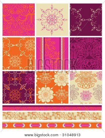 Bright Indian Themed Bollywood Vector Seamless Patterns.  Use to create bold patchwork pieces for quilts or fabric projects.