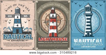 Lighthouse And Vintage Nautical Compass Vector Posters Of Sea Travel And Marine Adventure Design. Sa