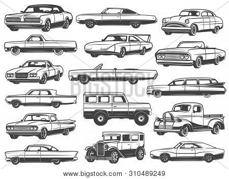 Retro Car And Vintage Auto Vector Icons. Old Motor Vehicle Transport Monochrome Symbols Of Coupe, Se
