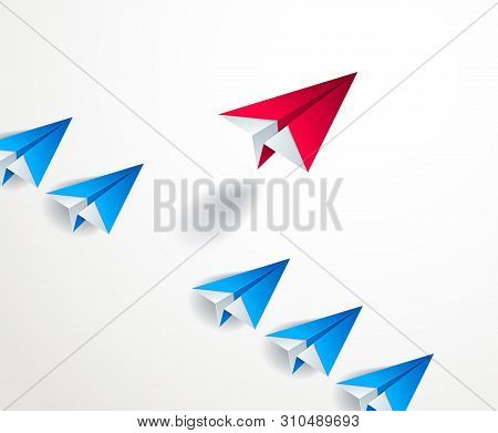 Be Special, Be First Pioneer, Be Leader, Leadership And Success Concept, Line Of Origami Paper Toy P