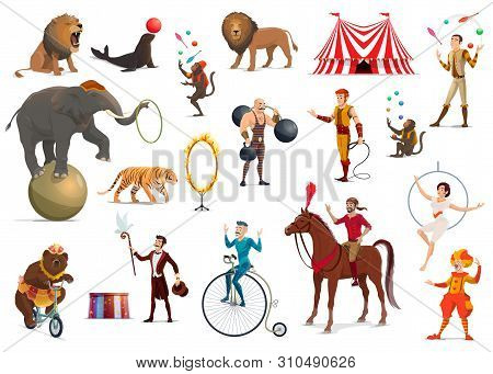 Circus Performers And Carnival Top Tent Artists Vector Design. Cartoon Clown, Acrobat And Strongman,