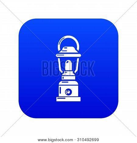 Kerosene Lamp Icon Blue Vector Isolated On White Background