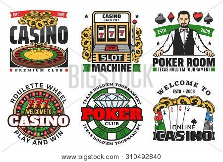 Casino Roulette, Poker Gambling Game And Slot Machine Vector Icons. Casino Dice, Chips And Blackjack