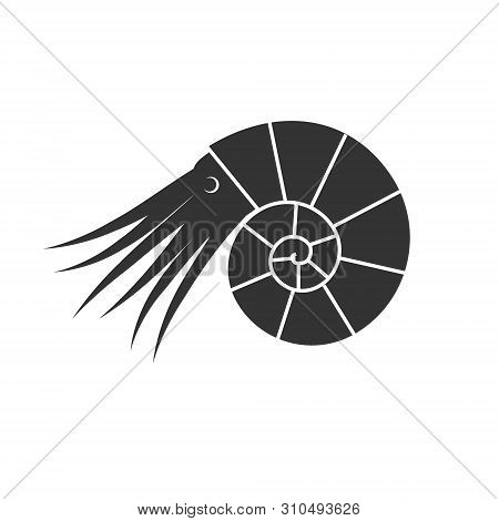 Vector Flat Black Ammonite Silhouette Logo With Tentacles And Eyes Isolated On White Background