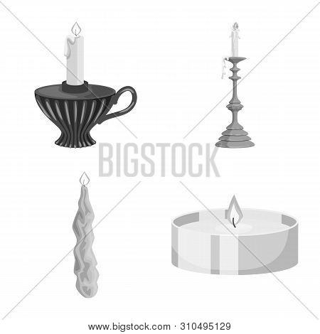 Vector Design Of Paraffin And Fire Icon. Set Of Paraffin And Decoration Stock Vector Illustration.