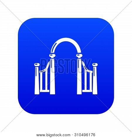 Archway Metal Icon Blue Vector Isolated On White Background