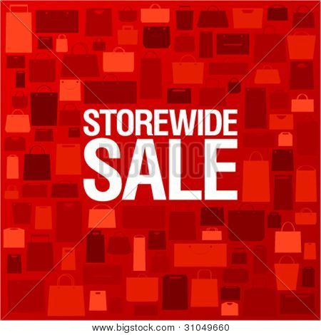 Store wide sale, bright background with shopping bags.