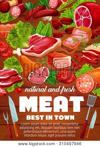 Meat And Sausages With Green Salad Leaves And Herbs Vector Design. Beef Steaks, Pork Ham And Salami,