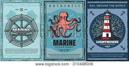 Nautical Anchors, Marine Sailing Ships And Sea Helm, Sailboat Rope, Ocean Octopus, Navy Lighthouse A