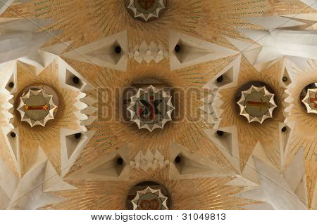 Interior Of The Famous Symbol Of Barcelona And Architectural Landmark - Gaudi's Sagrada Familia (hol