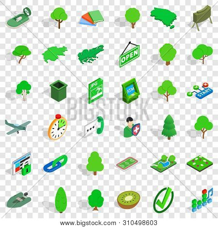 Goverment Icons Set. Isometric Style Of 36 Goverment Vector Icons For Web For Any Design