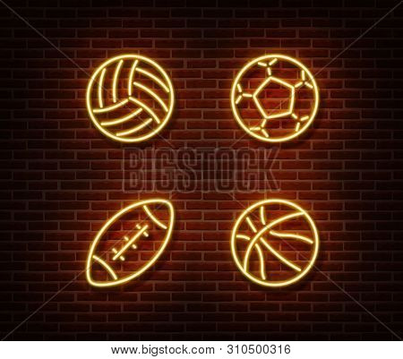 Neon Rugby, Soccer, Basketball, Volleyball Balls Sign Vector Isolated On Brick Wall. Sport Balls Lig