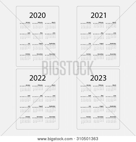 Calendar 2020, 2021,2022 And 2023 Calendar Template.calendar Design.yearly Calendar Vector Design St