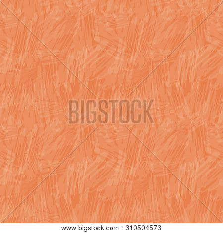 Delicate Translucent Painterly Texture. Seamless Vector Pattern On Vibrant Orange Background With Tr