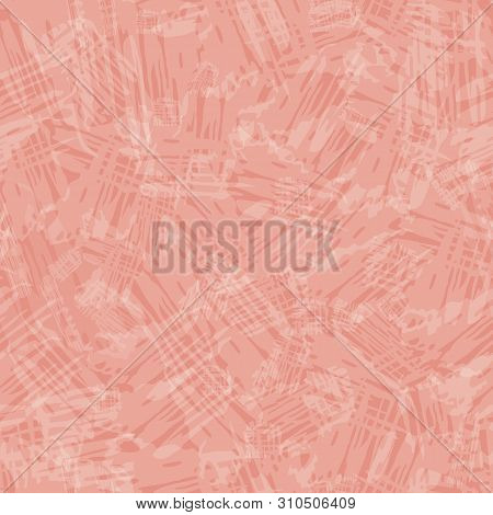 Transparent Painterly Texture In Shabby Chic Style. Seamless Vector Pattern On Soft Melon Pink Backg