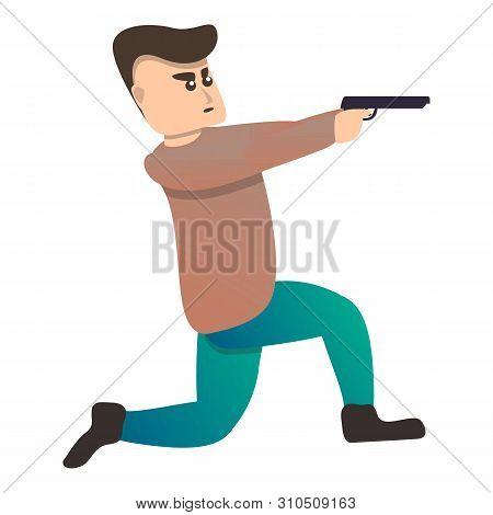 Man Pistol Shooting Sport Icon. Cartoon Of Man Pistol Shooting Sport Vector Icon For Web Design Isol