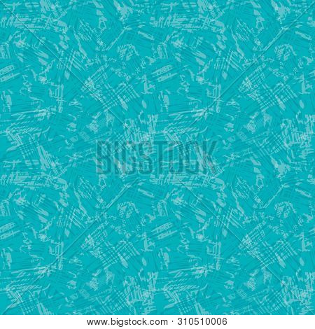 Transparent Scribble Texture In Shabby Chic Style. Seamless Vector Pattern On Caribbean Blue Backgro