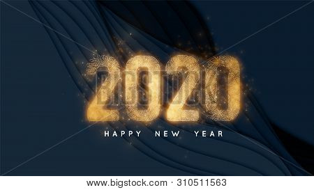 Happy New Year 2020. Dark Background With Paper Cut Slices Glowing Golden 2020 Numbers As Veins Of G
