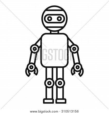 Machine Humanoid Icon. Outline Machine Humanoid Vector Icon For Web Design Isolated On White Backgro