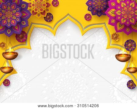 Diwali Festival Of Lights Holiday Design With Paper Cut Style Of Indian Rangoli And Hanging Diya - O
