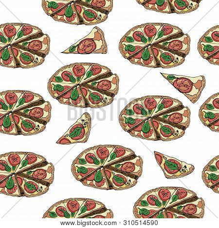 Seamless Pattern With Whole And Slices Of  Pizza Isolated On White Background. Hand Drawn Ink  And C