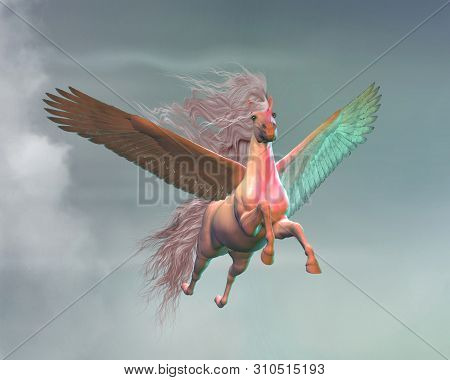Pegasus In Clouds 3d Illustration - A White Pegasus Stallion A Creature Of Myth And Folklore Flies M